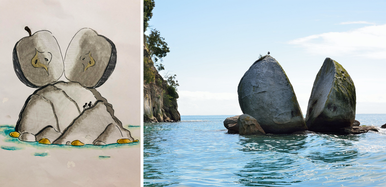An interpretation of Tokangawhā / Split Apple Rock compared to the actual rock formation in Kaiteriteri, New Zealand, drawn by Yincheng Qian, a 12-year-old artist from Dallas, Texas.