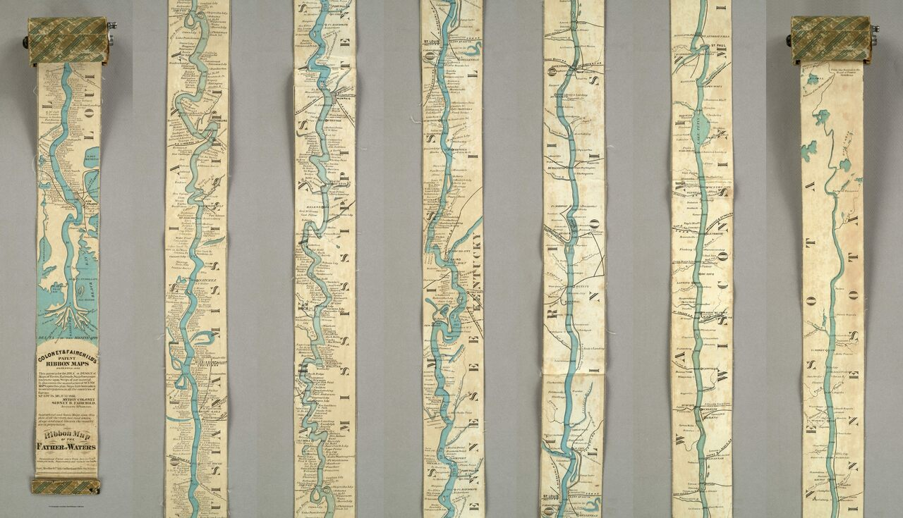 The <em>Ribbon Map of the Father of Waters</em>—pictured rolled up (left) and fully extended (right)—was meant to be wrapped around a spool and brought on steamboat trips.