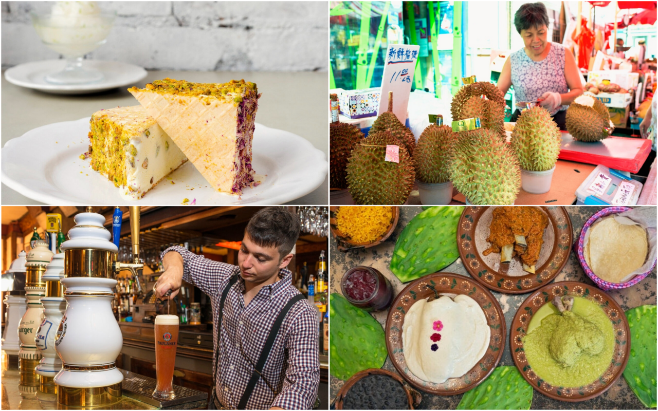 Clockwise from top-left: Persian ice-cream sandwiches, a durian seller in Manhattan, white mole at a Oaxacan restaurant, and <em>Berliner weisse</em> with fresh syrup.