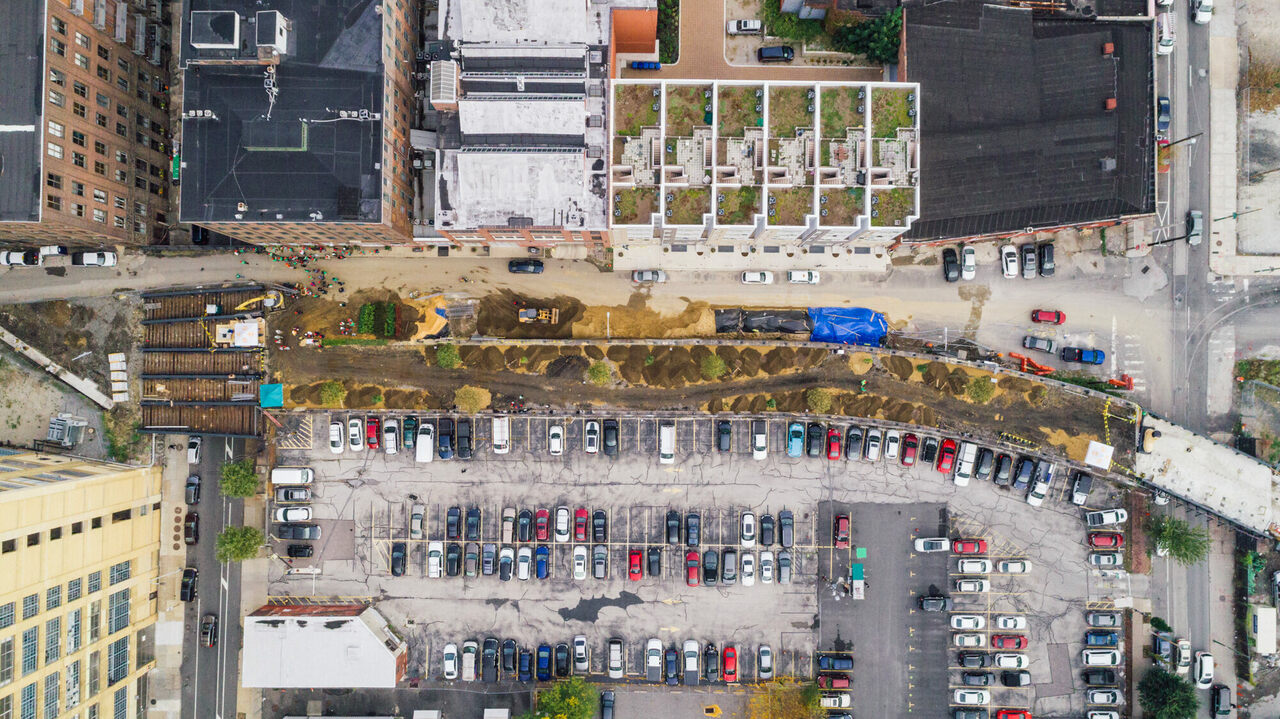 A drone's-eye view of the Rail Park in the midst of its transformation.