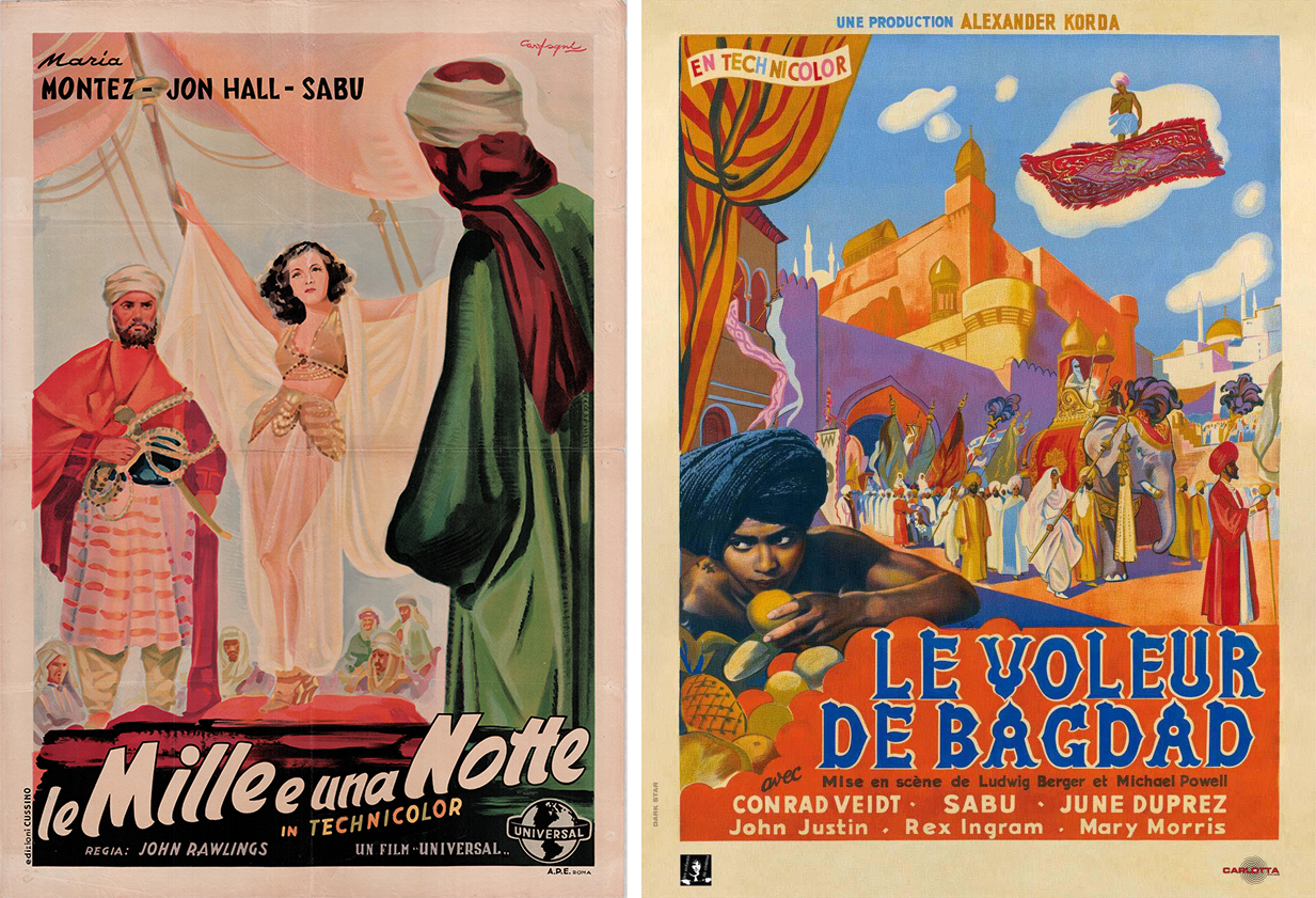 An Italian poster for <em>Arabian Nights</em> (1942) and a French poster for <em>The Thief of Baghdad</em> (1940).
