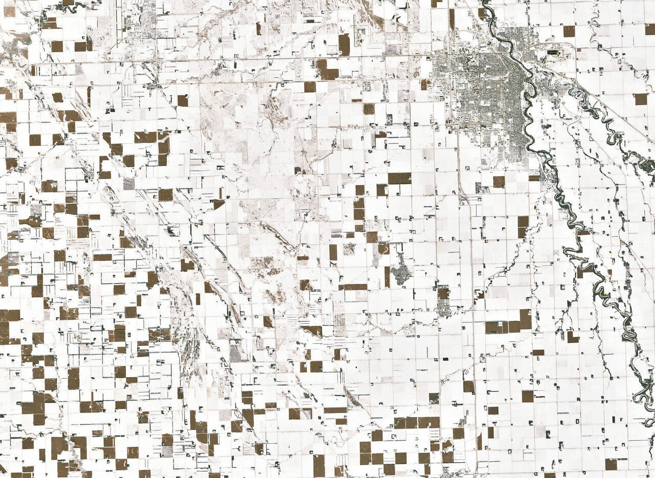 The patchwork shows expanses of snow, interspersed with fields of corn that are toughing out the winter weather.