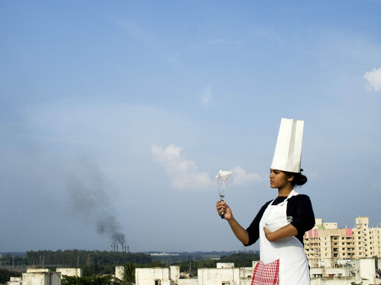 One of Zack Denfield's students whips smog into a meringue in Bangalore, India.