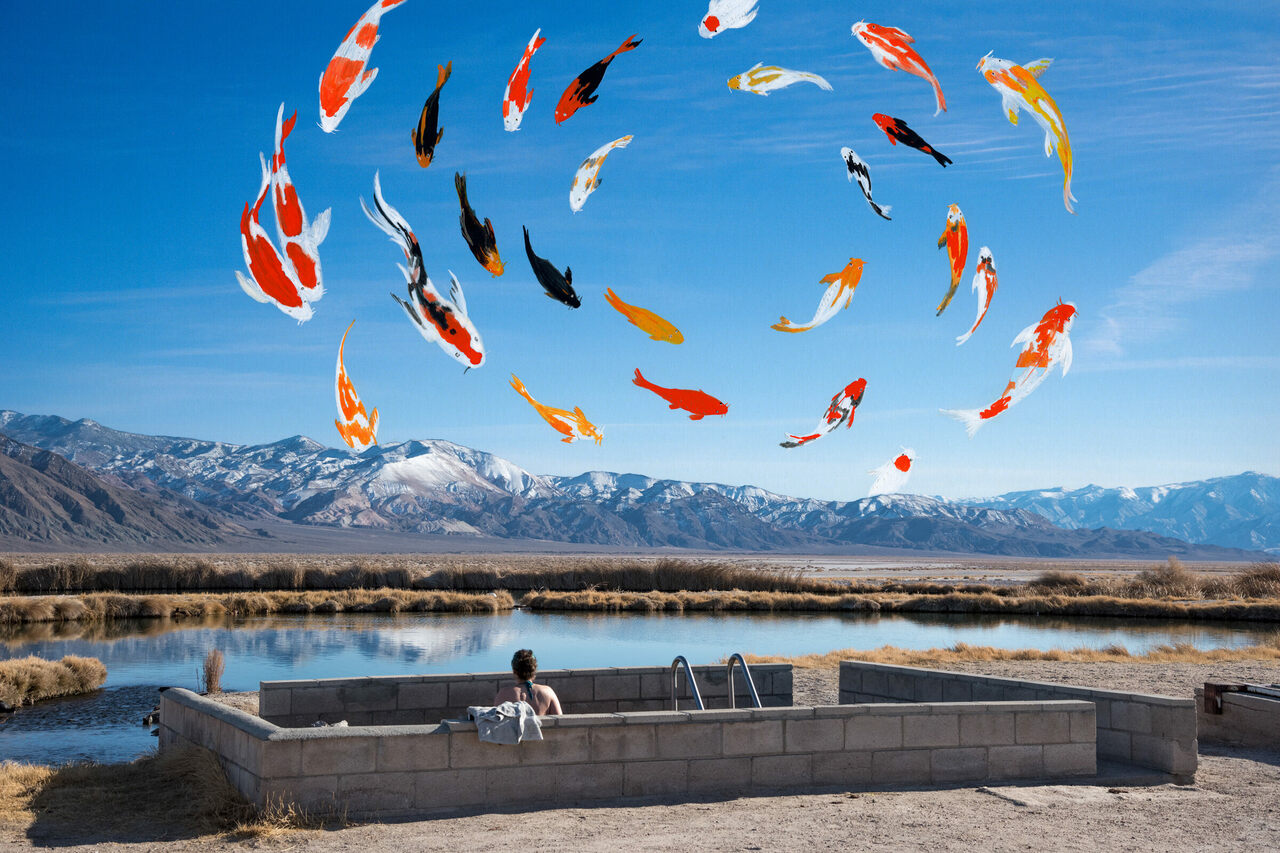<em>Oasis</em> by Francesca Berrini and Lindsey Rickert channels postcard imagery of resorts and spas, mixing mediums to immortalize a surreal experience at Fish Lake Valley,