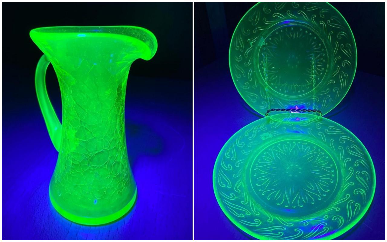 A small uranium-glass pitcher (left) and uranium glass plates (right).