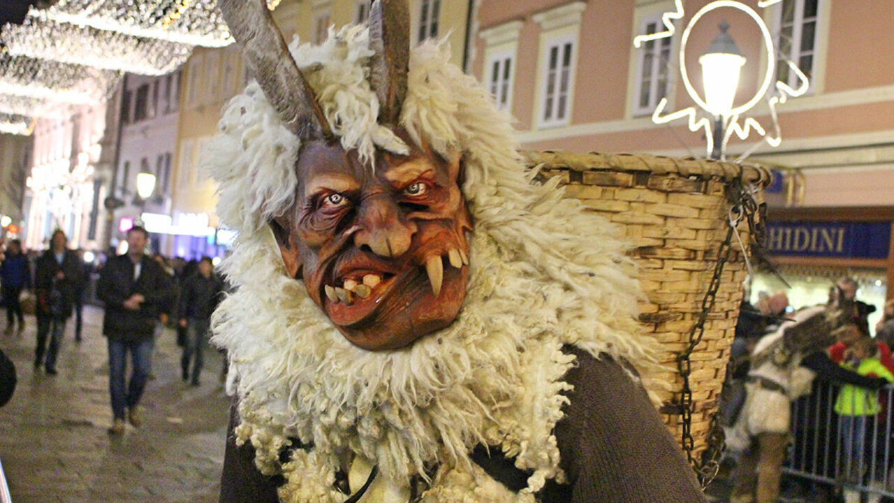 Some Krampus costumes include wicker baskets, into which naughty children are supposedly thrown and beaten.