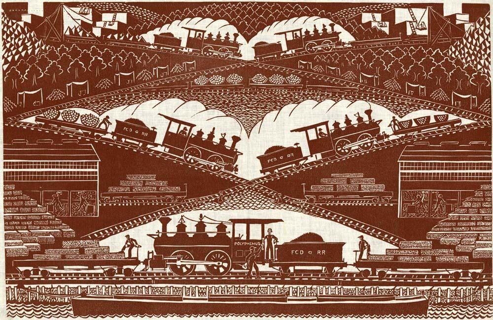 Eino Natti's 1950 print <em>Polyphemus</em> shows a granite train at work.