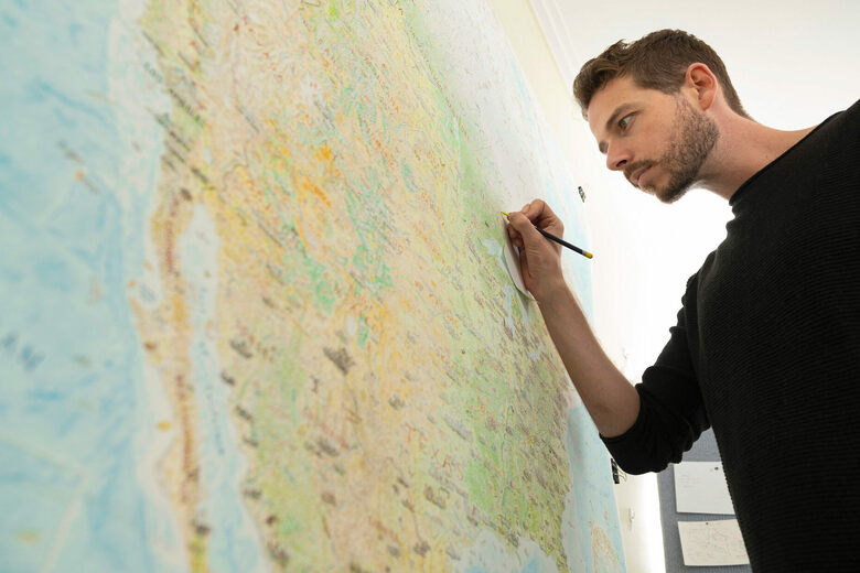 How a Cartographer Drew a Massive, Freehand Map of North America