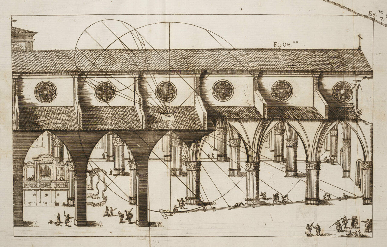 Giovanni Domenico Cassini's design for the meridian line in the Basilica di San Petronio in Bologna.
