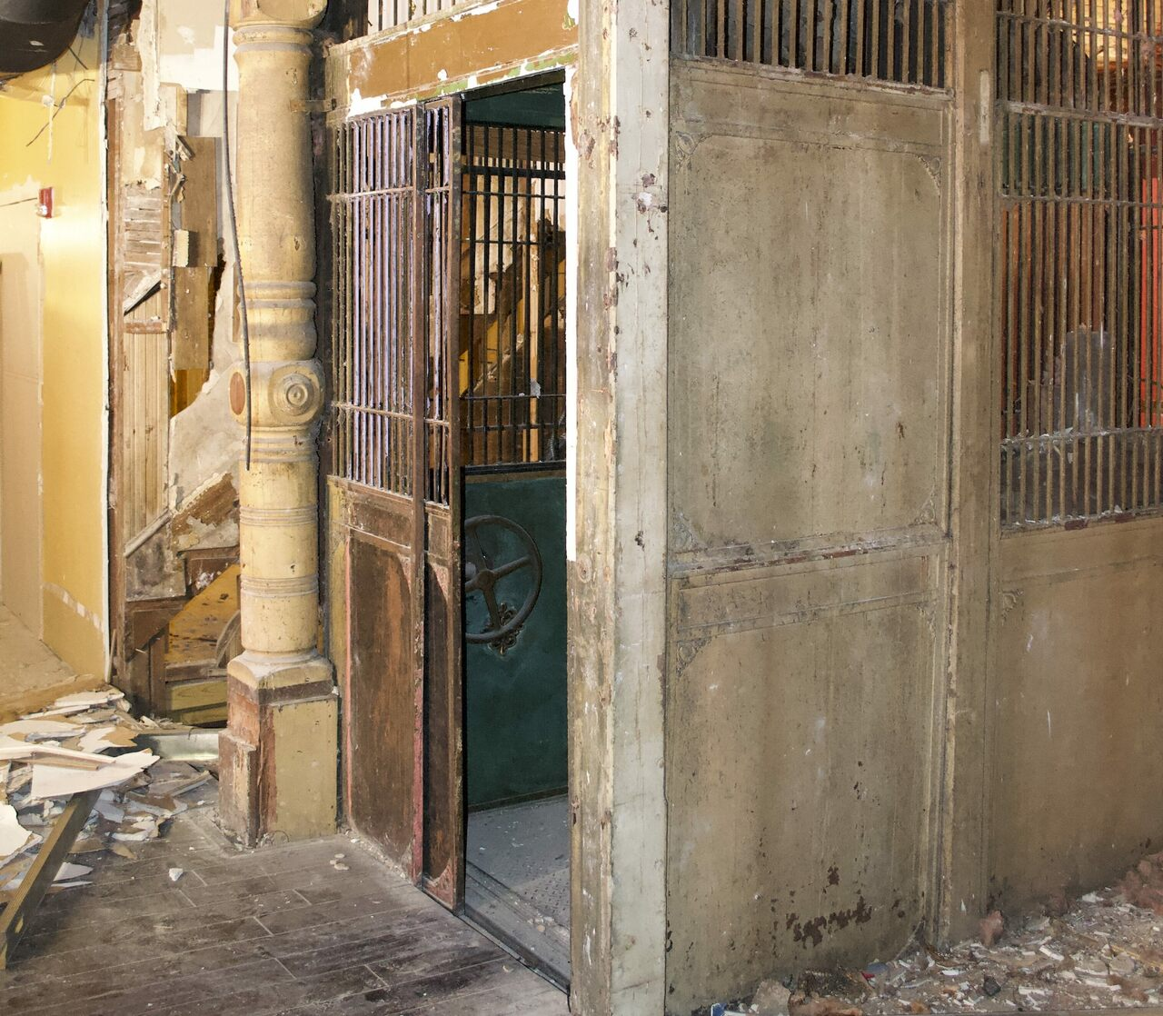 Behind some drywall emerged the building's long-forgotten original elevator.