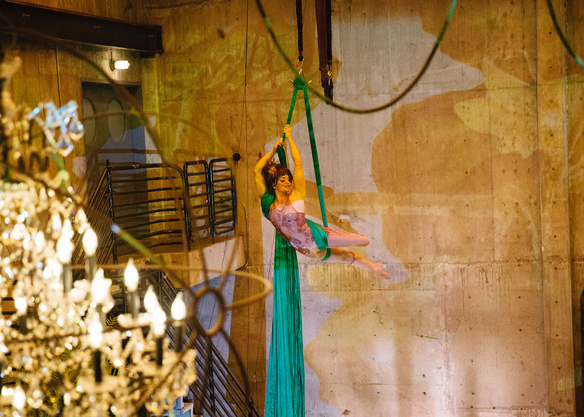 The aerialist Tanya Brno, suspended from silks that invoke the climbing vines of a creeping cucumber.