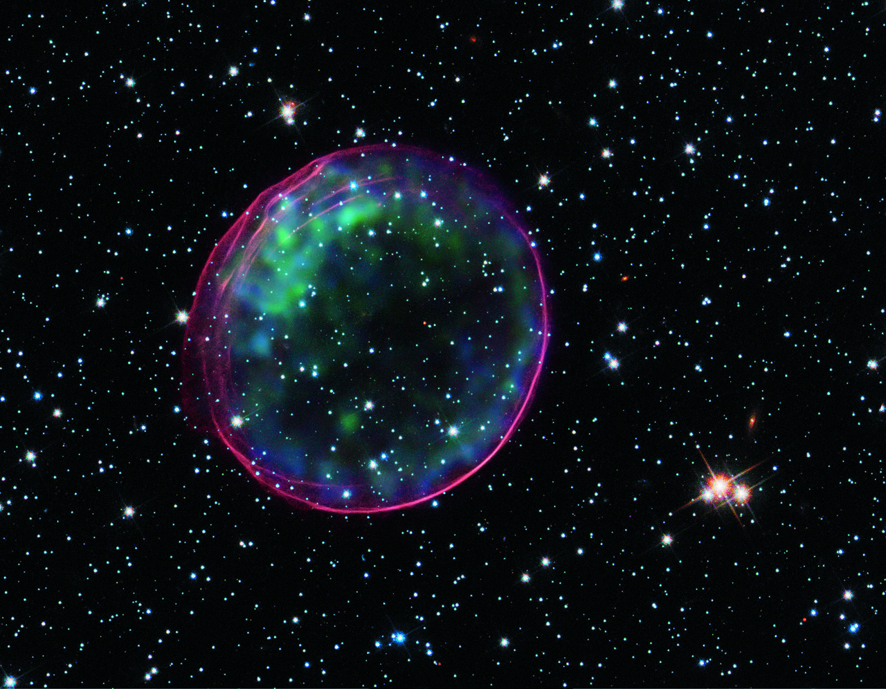 The remnant of a supernova that occurred 160,000 light years from Earth. The stellar explosion would have been visible in the Southern Hemisphere around 1600.