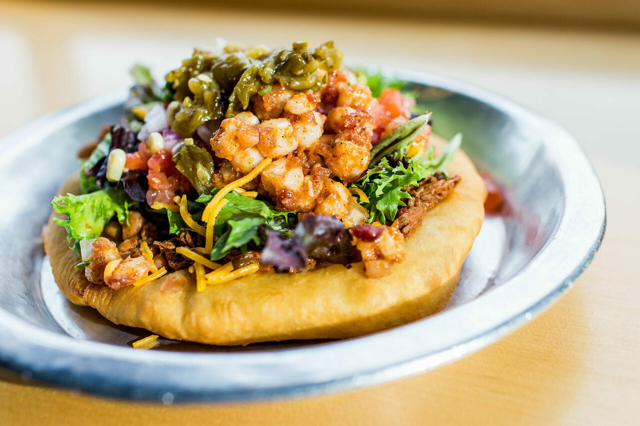 Frybread serves as a base for Tocabe's Indian Taco.