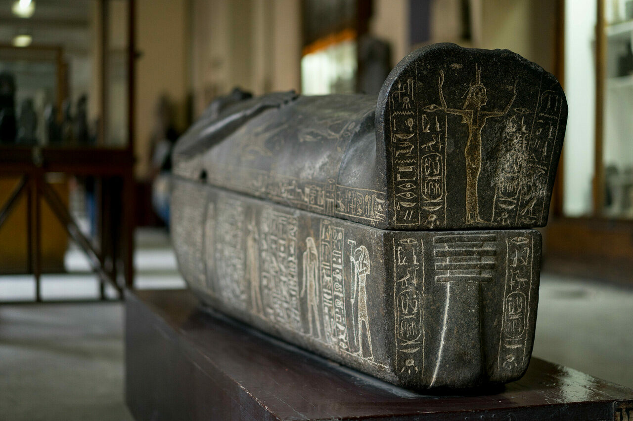 A granite sarcophagus believed to be that of Ramesses I, on display in Cairo.