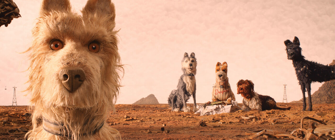 The heroes of <em>Isle of Dogs</em>, standing on Trash Island.