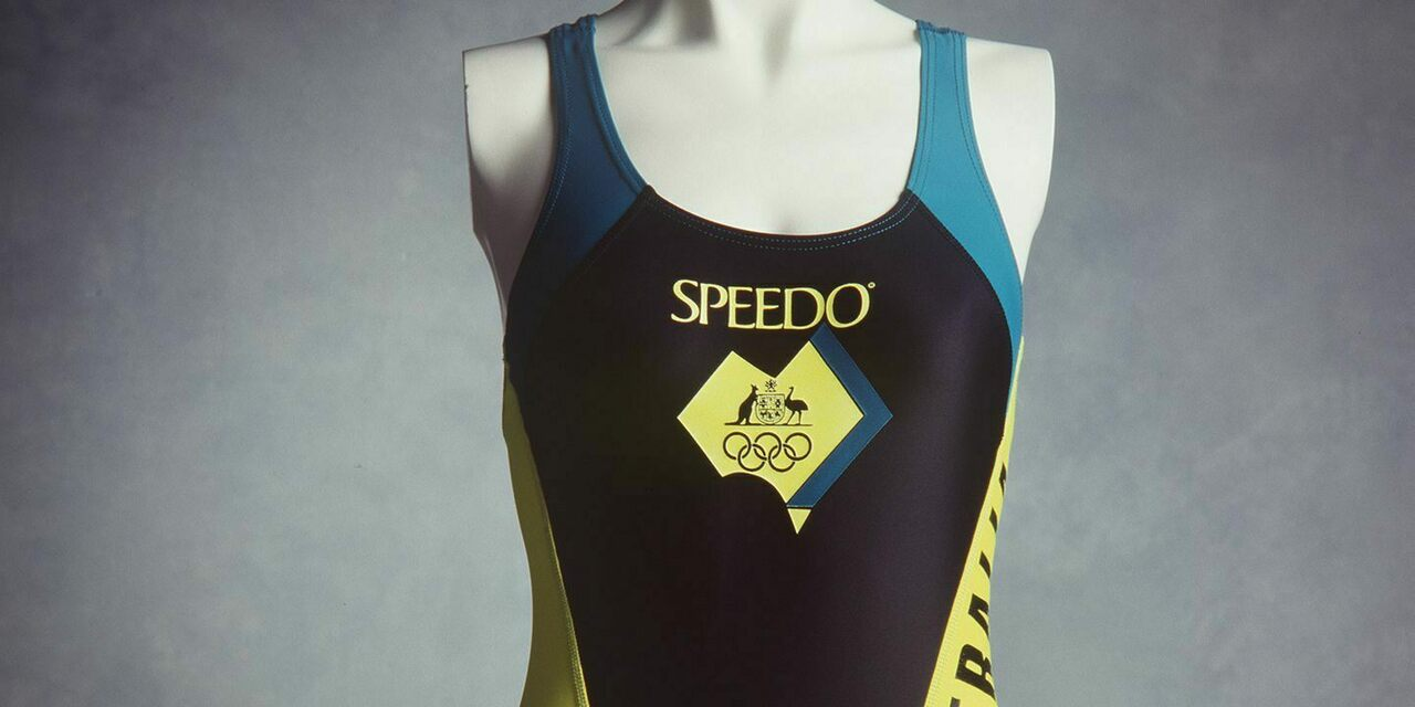 An Australian Olympic team swimsuit from the 1992 Barcelona Olympic games.