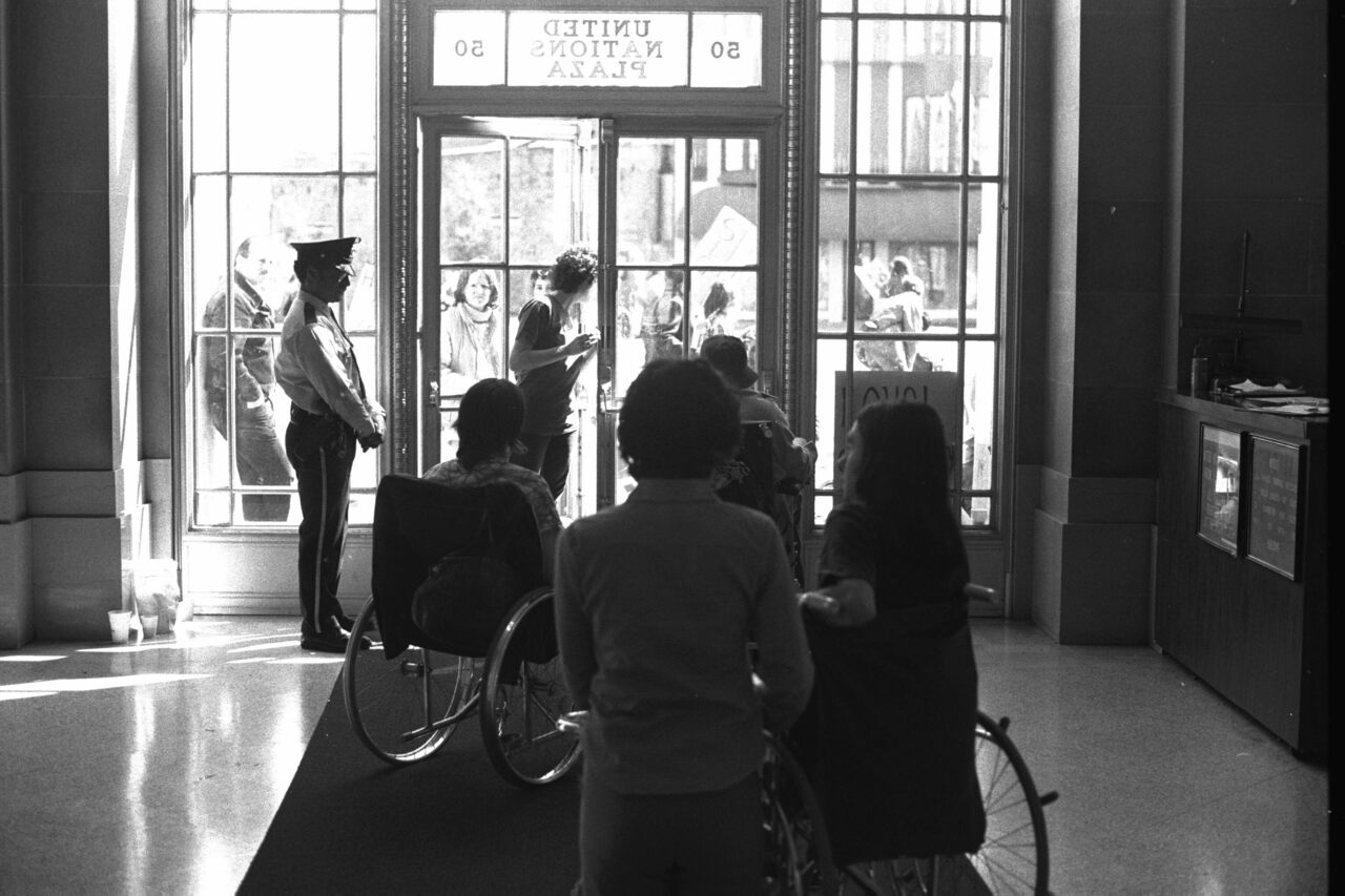 A photograph taken by HolLynn D'Lil, one of the protesters, from inside the 504 Sit-In.