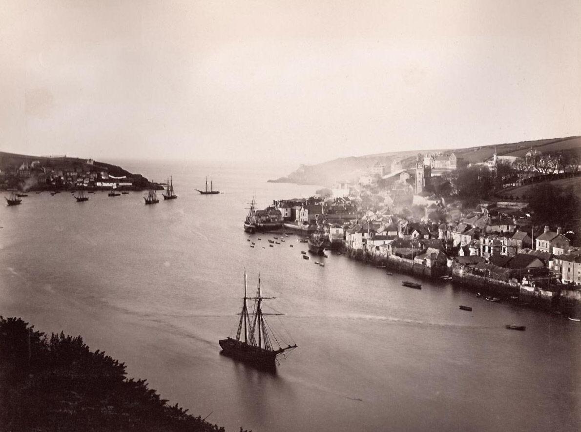 Ships sailing into Fowey, Cornwall, c. late 1800s.