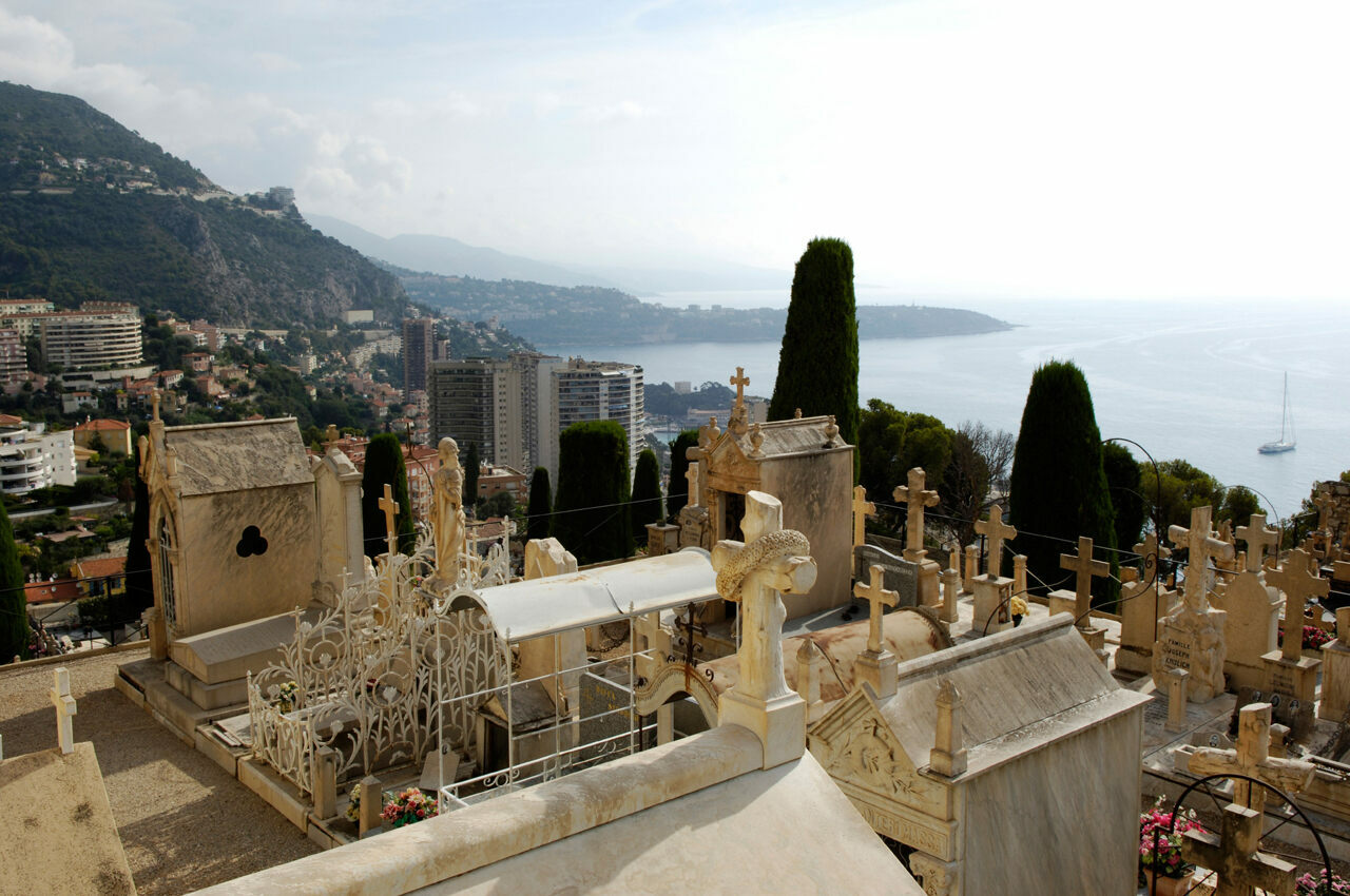Monaco's cemetery crawls up a hillside overlooking the Mediterranean.