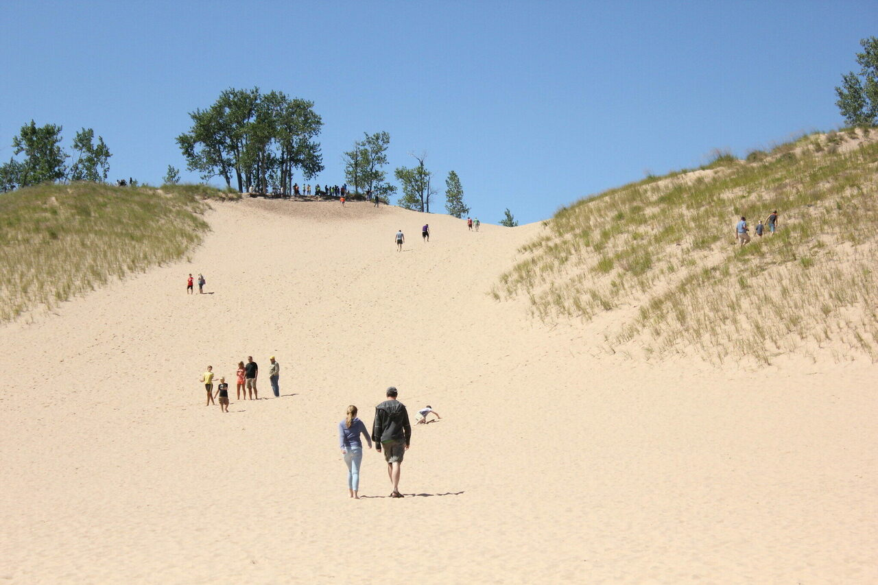 Sleeping Bear Dunes, pictured here in 2014, is an appealing place for socially distant strolling.