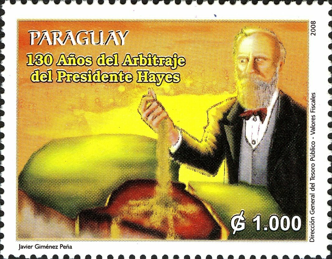 This 2008 stamp celebrated the 130-year anniversary of the arbitration by President Hayes.