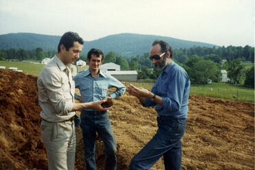 Gianni Zonin, Count Cicogna, and Gabriele Rausse in 1978 making plans for Barboursville's Vineyard.