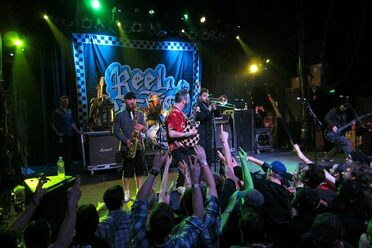 Orange County ska punk band Reel Big Fish, performing live in 2013.