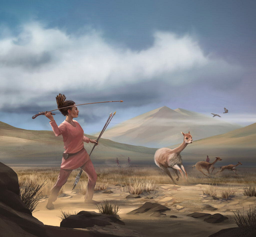 This artist's rendition shows an ancient huntresses in action.