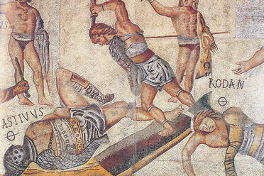 Gladiators fight in this mosaic from the Villa Borghese.