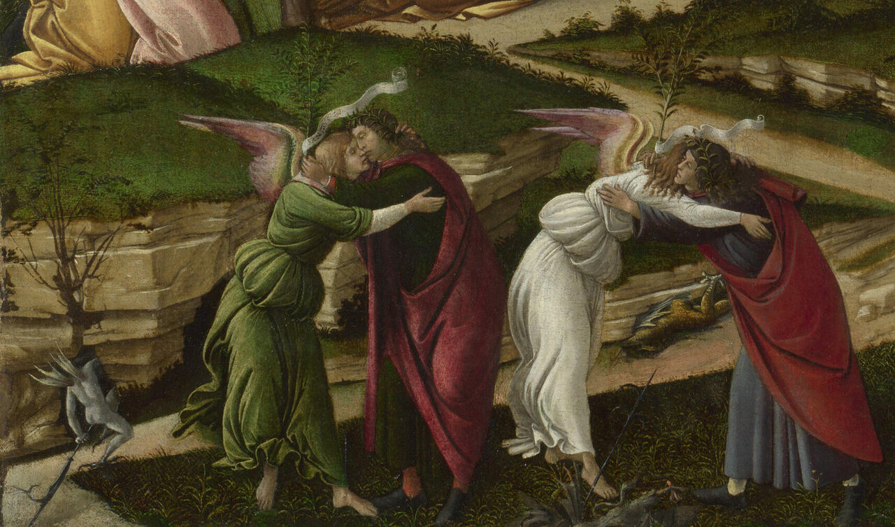 "This detail of Sandro Boticelli's ""The Mystical Nativity"" contains verdigris pigment."