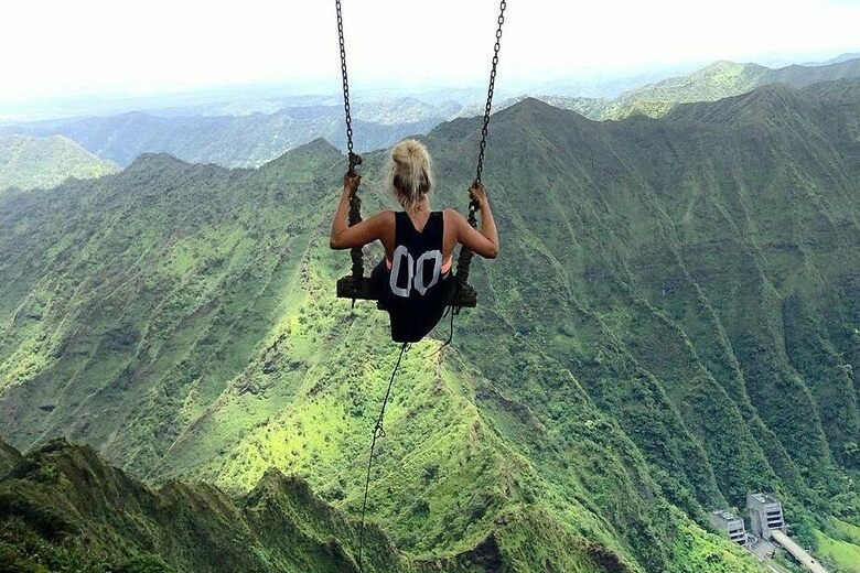 Hiker Nearly Falls Off Illegal Swing on Hawaii\'s Famous Stairway to ...