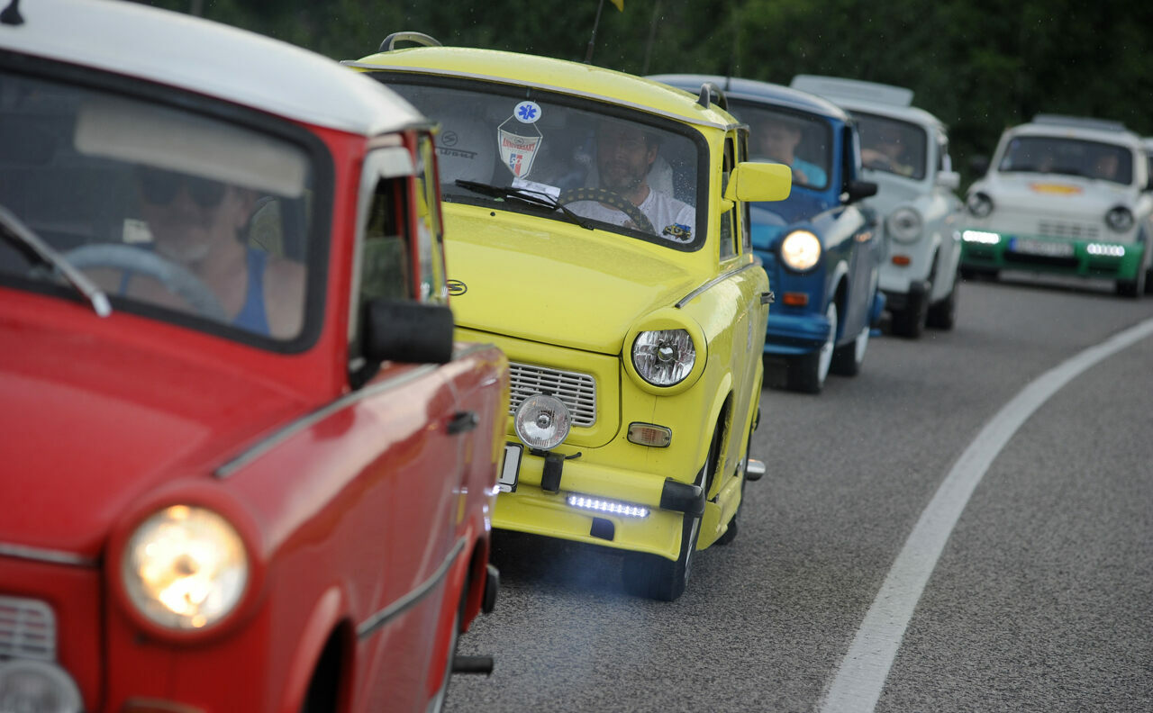 A parade of Trabis at the 2012 International Trabant Drivers' Meeting in Piestany, Slovakia.