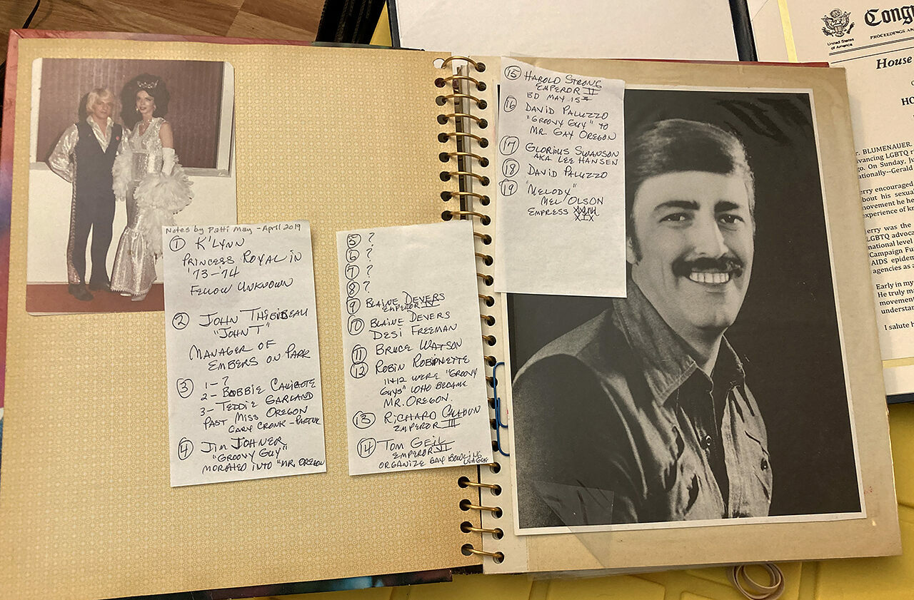One of Jerry Weller's photo albums, with notes that Patti May gave to GLAPN identifying people in the pictures.