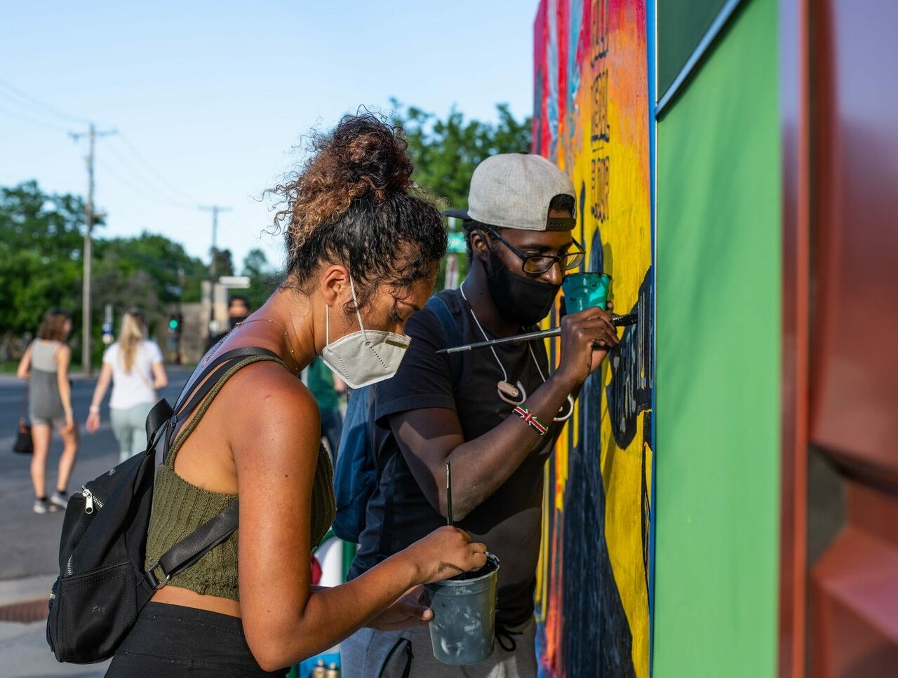 #CreativesAfterCurfew includes over 40 artists in a decentralized power structure, without a clear leader. But most of their murals have the same theme: fighting racial injustice and systemic racism.