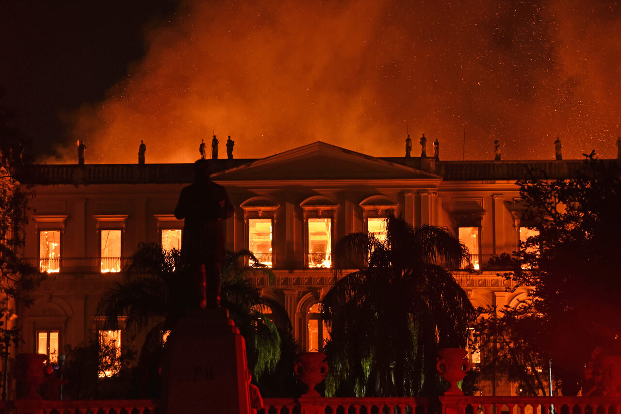 The fire that swallowed Rio de Janeiro's Brazilian National Museum on September 2, 2018.