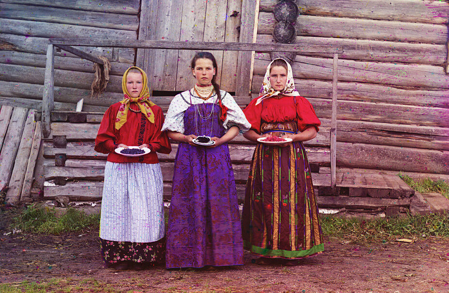 Three young women near the town of Kirillov.