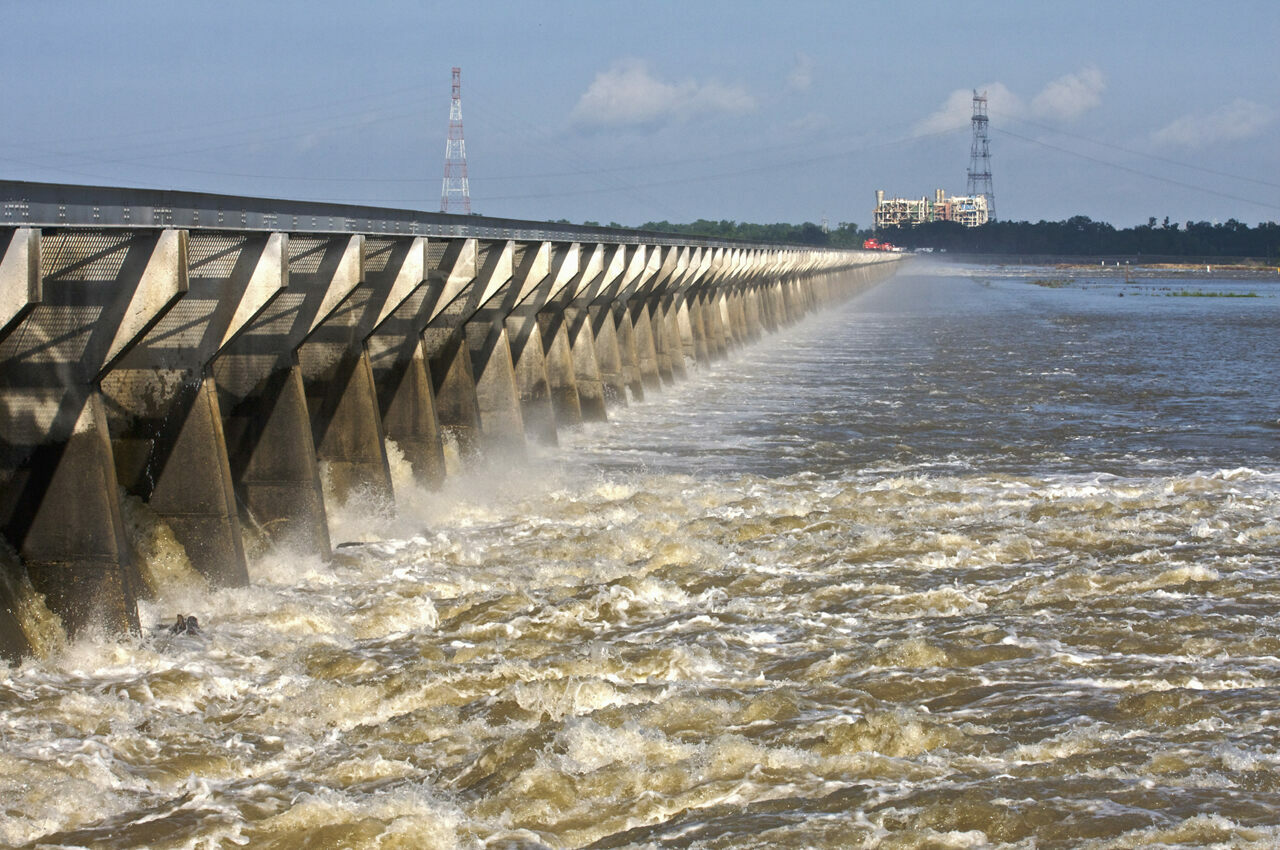 Floodwaters from the Mississippi River churn through the Bonnet Carre Spillway.