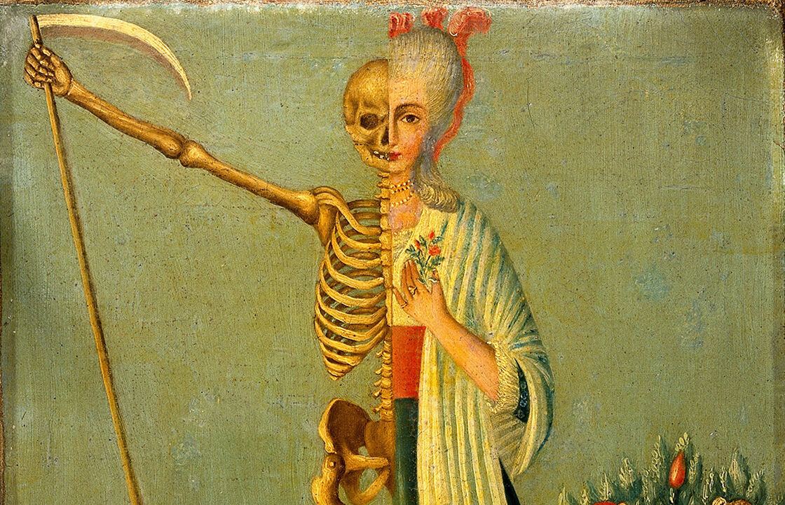 A detail from an oil painting, <em>Life and Death</em>, depicting half-woman, half-skeleton figure bearing a scythe, 18th century.