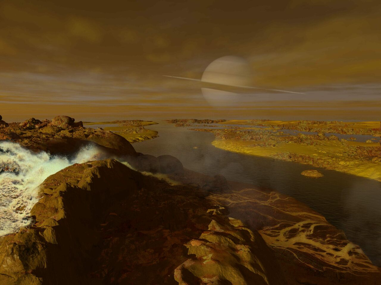 The methane river delta on Titan, one of Saturn's moons, as depicted by space artist Ron Miller.