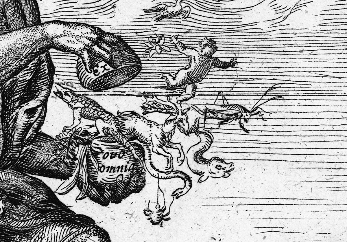 "An illustration from the title page of William Harvey's <em>Exercitationes de Generatione Animalium</em>, 1651, showing Jupiter opening creatures from an egg with the words ""Ex ovo omnia"" (""all from an egg"")."