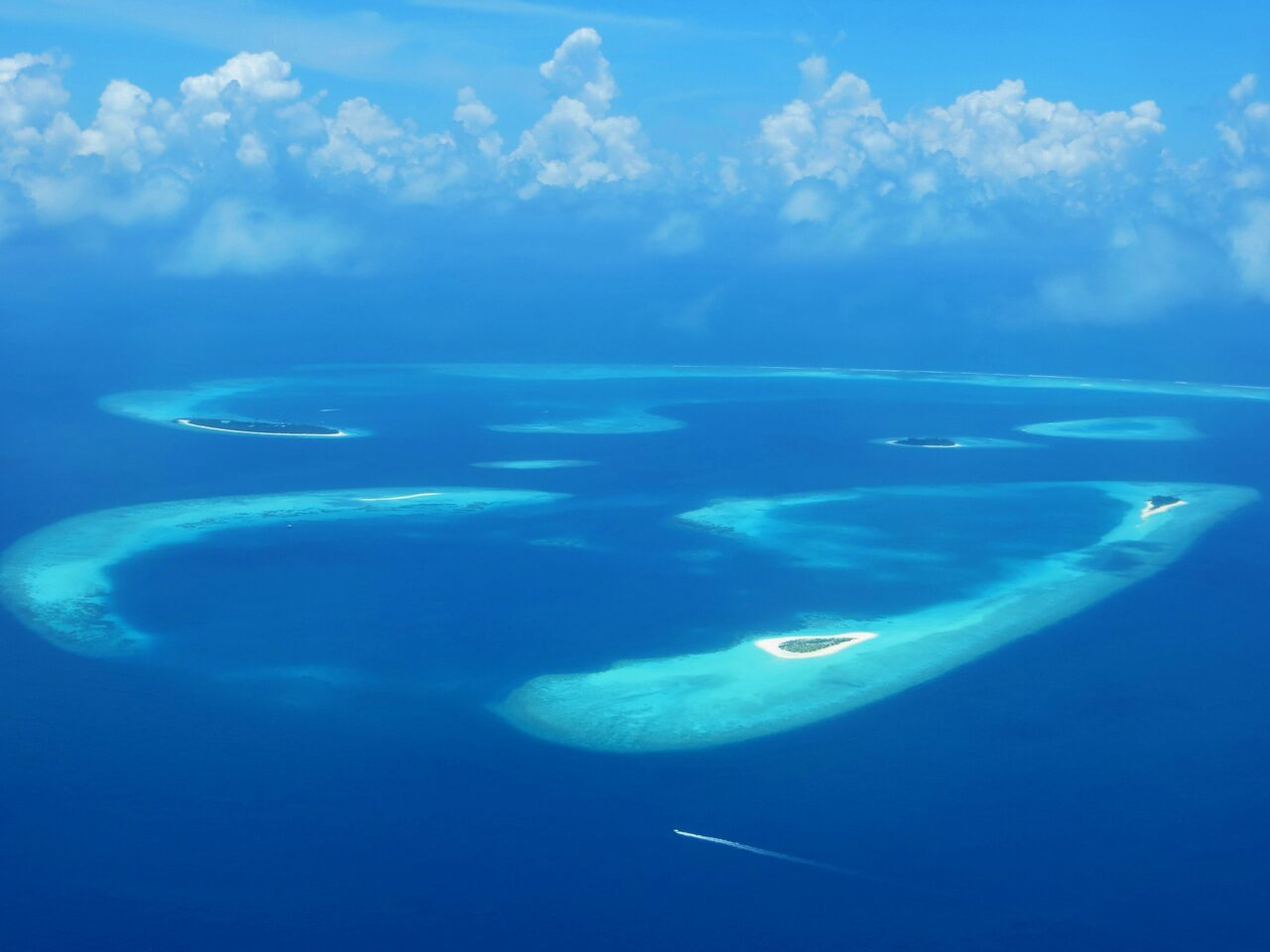 An aerial image of Baa Atoll in the Maldives, a coral island group not far from Kaashidhoo.