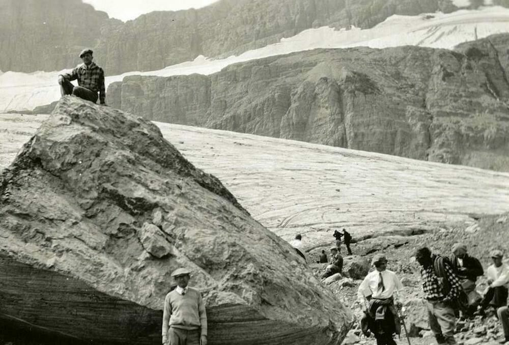Ecologist Morton J. Elrod used this boulder to measure the terminus of Grinnell Glacier in 1926. Now, no ice is visible from the rock.
