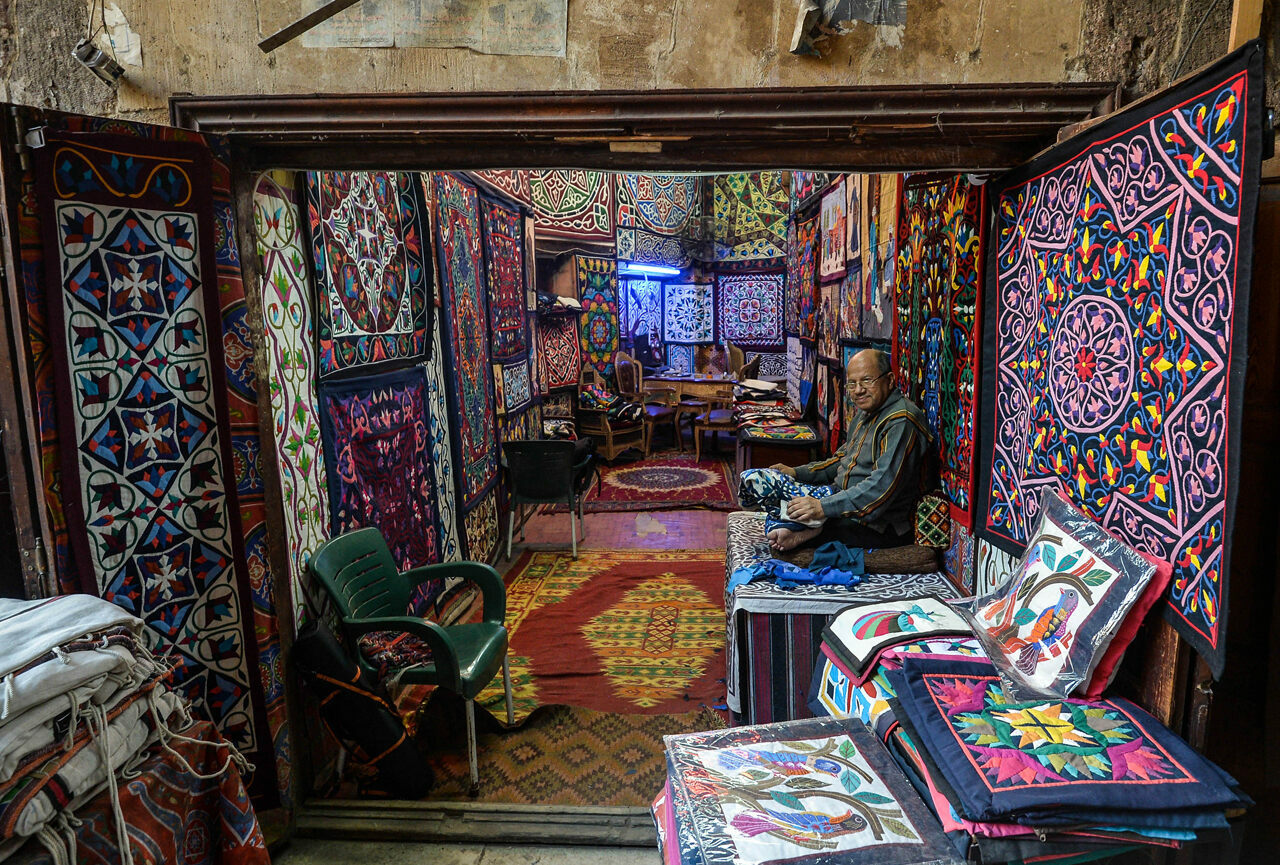 Cairo's <em>Sharia Khayamiya</em>—the Street of the Tentmakers, aka the Tentmakers Market—is the only place in the world where the decorative appliqué textile is made.