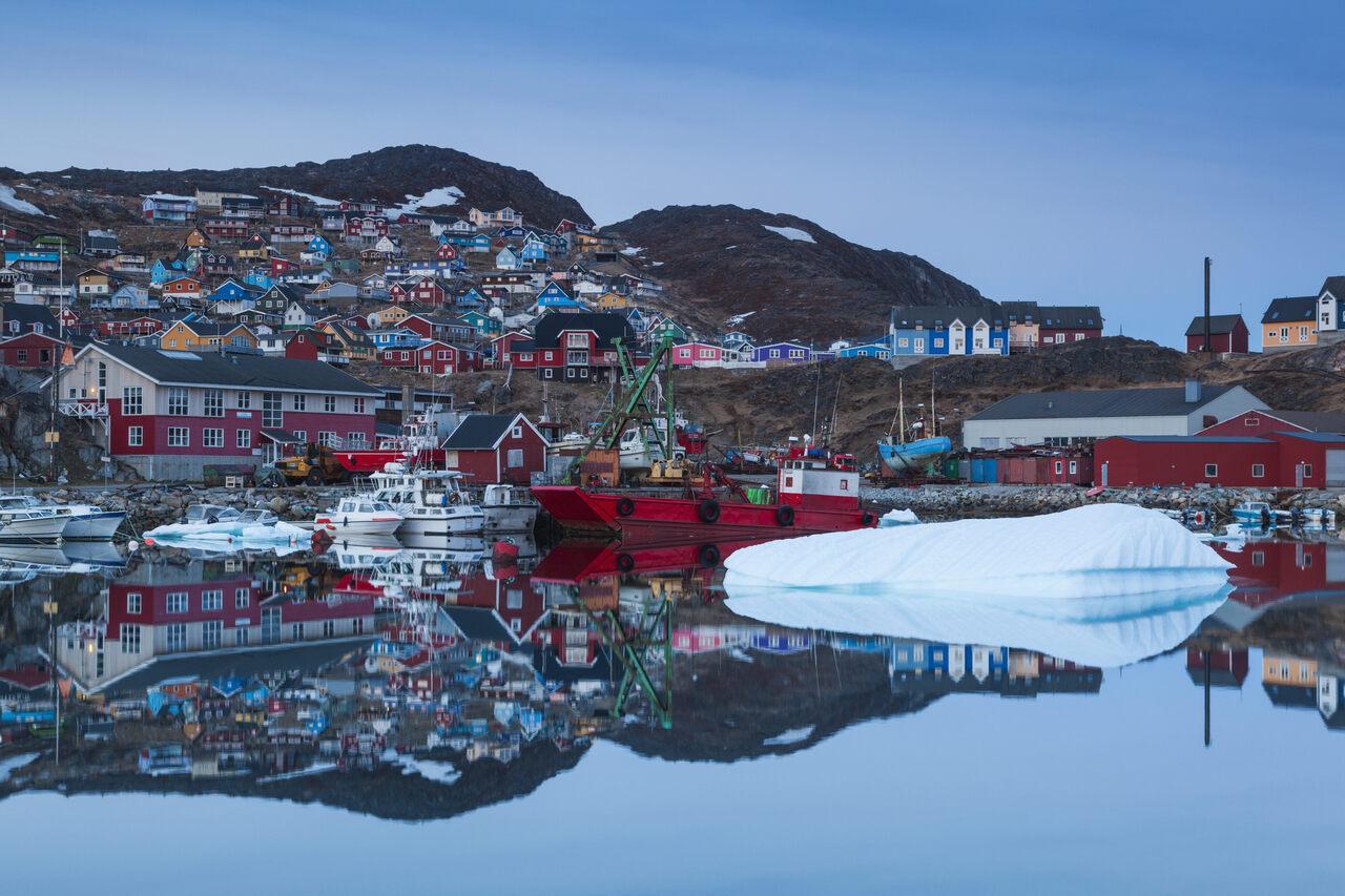 The harbor of Qaqortoq, Greenland.