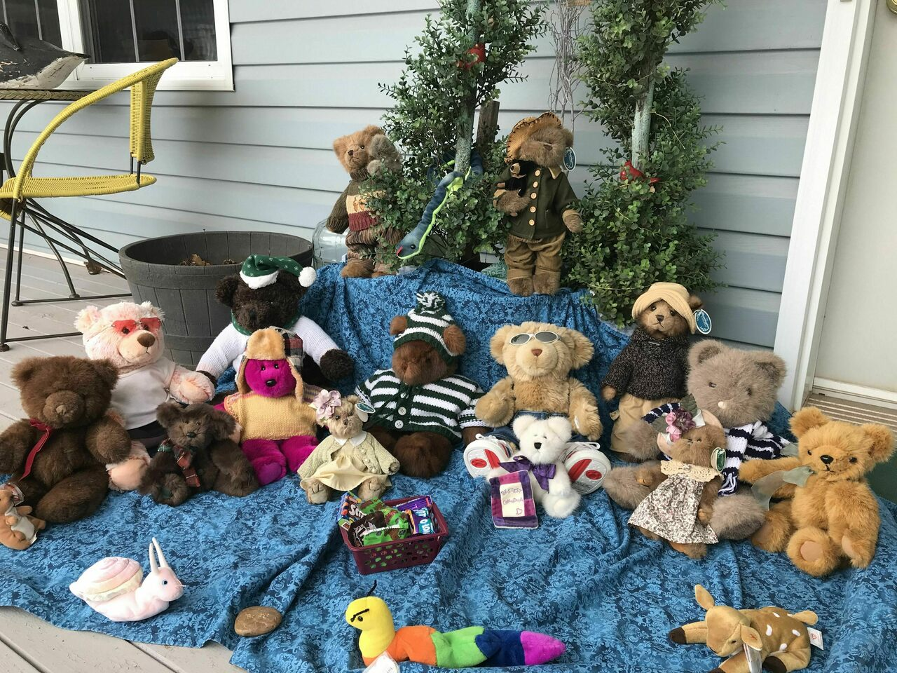 A bevy of bears on a porch in Prince Edward Island, Canada.