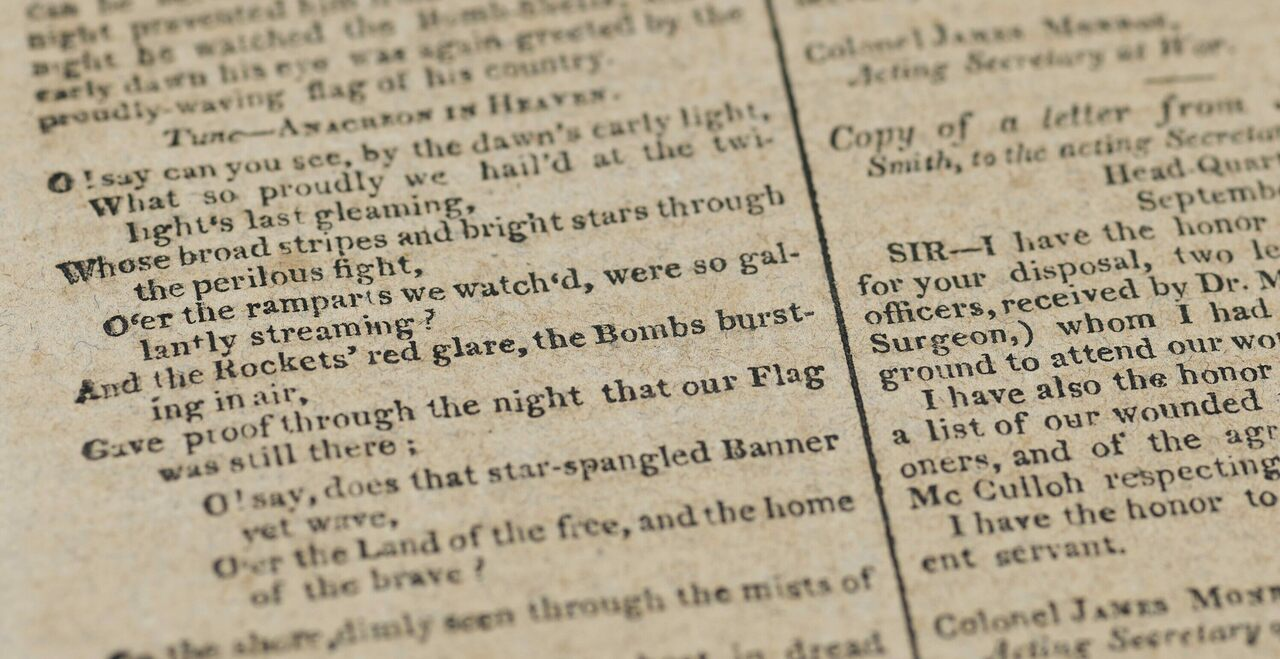 """One of the verses printed in the <i>Baltimore Patriot</i>, with instructions to sing to the tune of """"Anacreon in Heaven."""""""