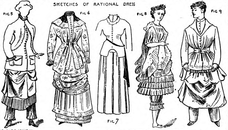 The <em>Rational Dress Society</em> republished these caricatures in the pamphlet of their 1883 annual meeting.