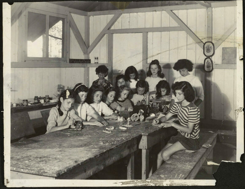 Girls working in the wood and clay shop, c. 1946.