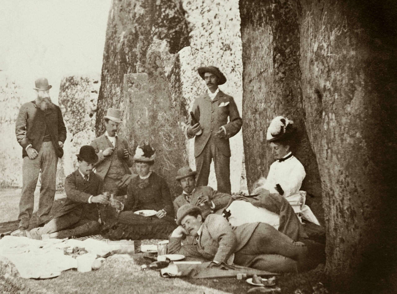 A picnic party at Stonehenge, including Queen Victoria's son Prince Leopold (reclining, looking towards camera), c. 1877