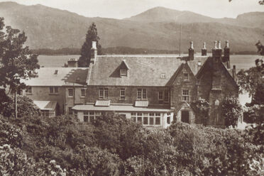 A postcard of the Loch Maree Hotel, built in 1872 and made famous by Queen Victoria's six-night stay.